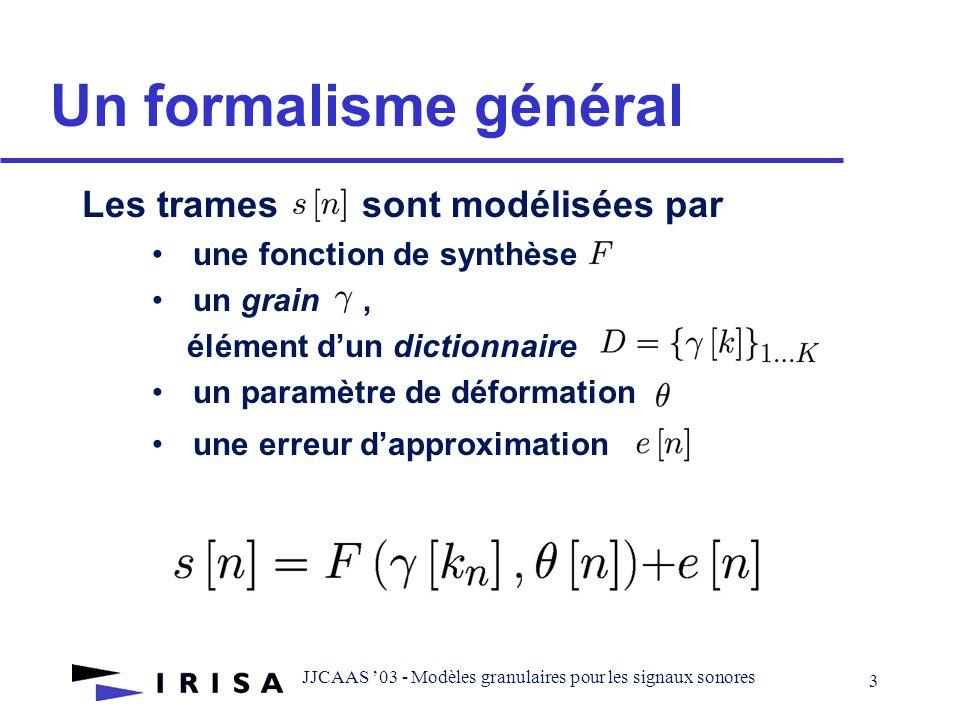 JJCAAS 03 - Modèles granulaires pour les signaux sonores 2 Introduction: motivations Un modèle hybride: Paramétrique description efficace (parcimonie,complexité …) adapté à certaines classes de signaux slt.