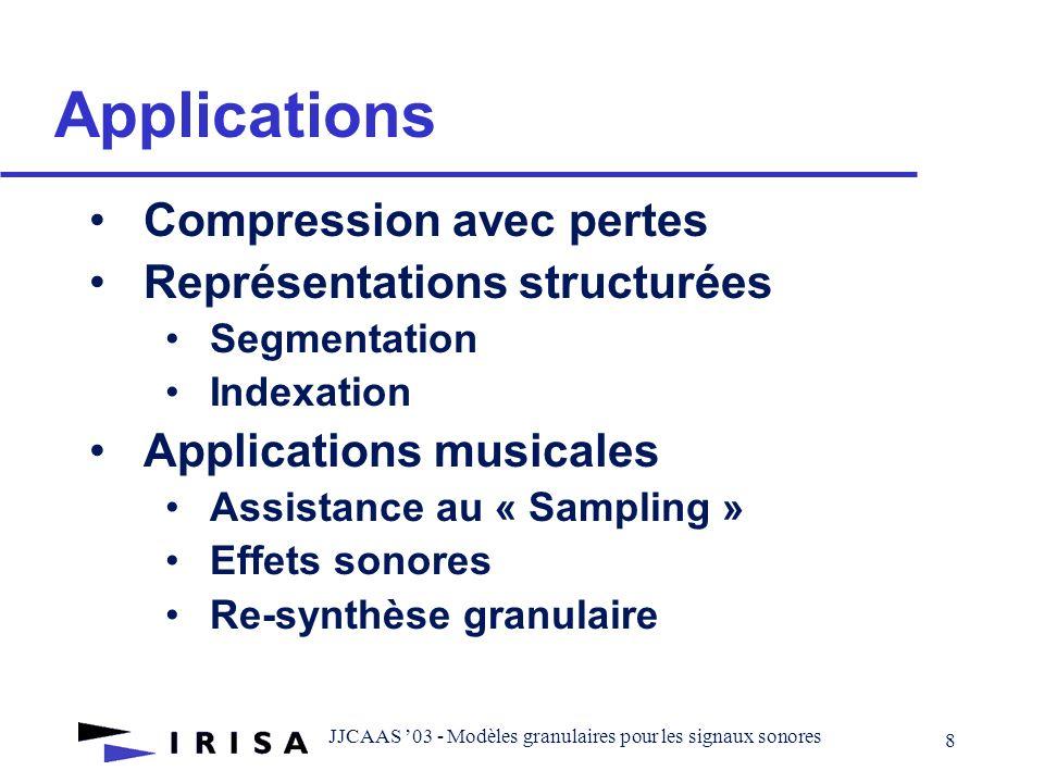 JJCAAS 03 - Modèles granulaires pour les signaux sonores 8 Applications Compression avec pertes Représentations structurées Segmentation Indexation Applications musicales Assistance au « Sampling » Effets sonores Re-synthèse granulaire