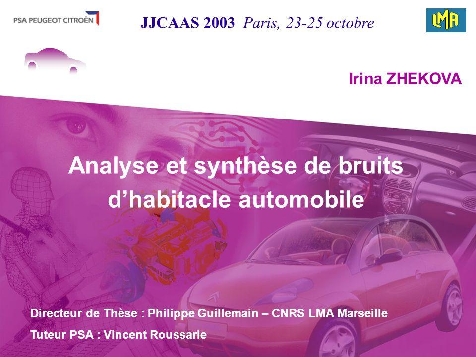 Directeur de Thèse : Philippe Guillemain – CNRS LMA Marseille Irina ZHEKOVA Tuteur PSA : Vincent Roussarie Analyse et synthèse de bruits dhabitacle au