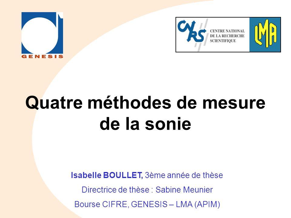 Quatre méthodes de mesure de la sonie Isabelle BOULLET, 3ème année de thèse Directrice de thèse : Sabine Meunier Bourse CIFRE, GENESIS – LMA (APIM)