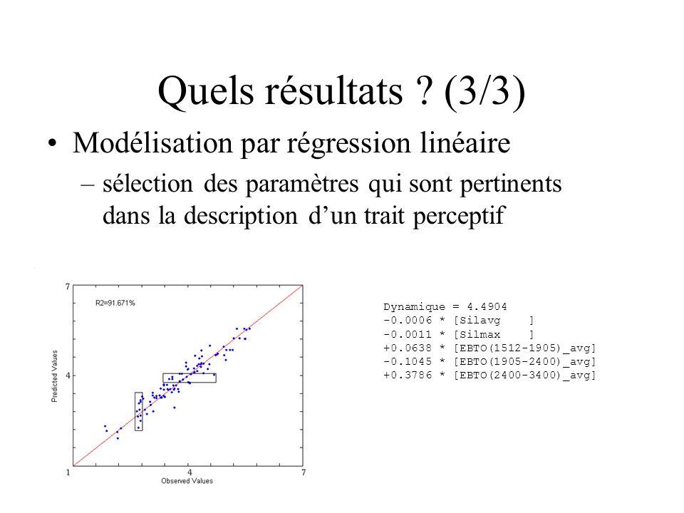 Quels résultats ? (3/3) Modélisation par régression linéaire –sélection des paramètres qui sont pertinents dans la description dun trait perceptif Dyn