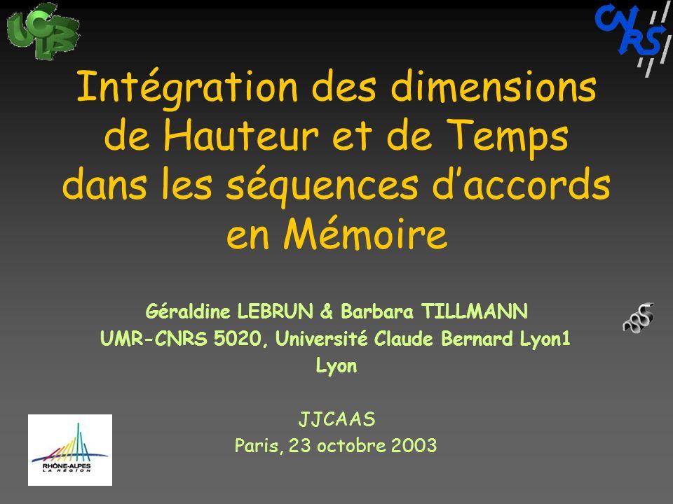 Intégration des dimensions de Hauteur et de Temps dans les séquences daccords en Mémoire Géraldine LEBRUN & Barbara TILLMANN UMR-CNRS 5020, Université Claude Bernard Lyon1 Lyon JJCAAS Paris, 23 octobre 2003
