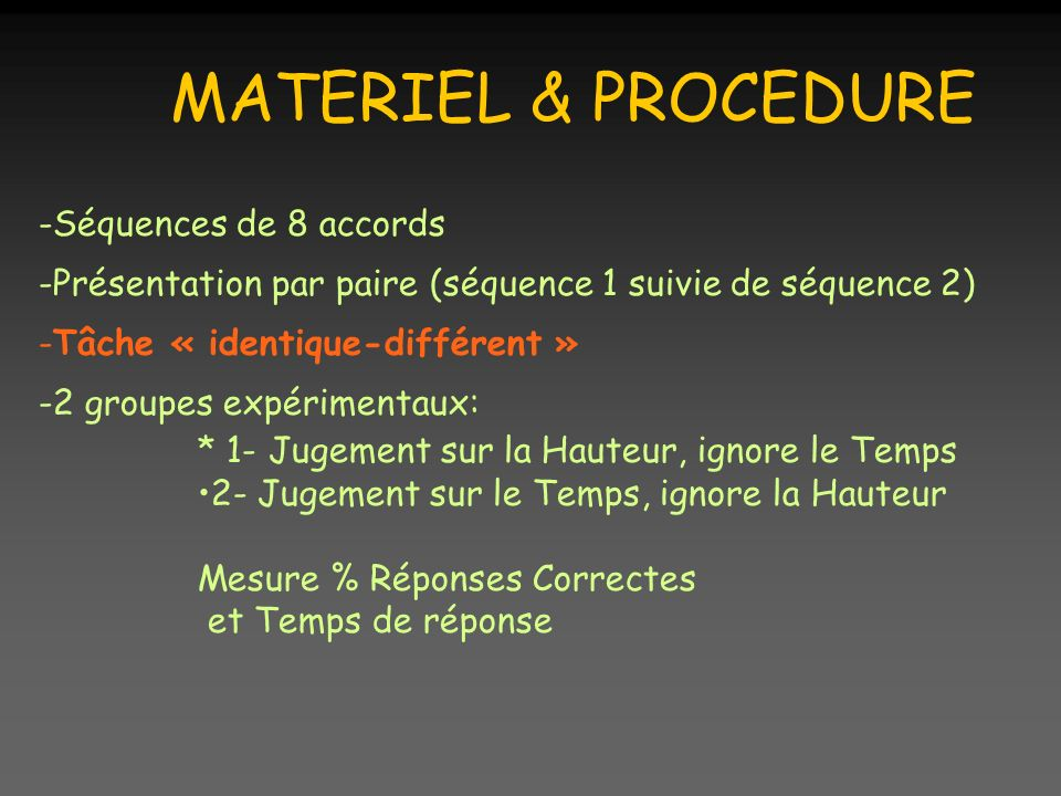 MATERIEL & PROCEDURE -Séquences de 8 accords -Présentation par paire (séquence 1 suivie de séquence 2) -Tâche « identique-différent » -2 groupes expér
