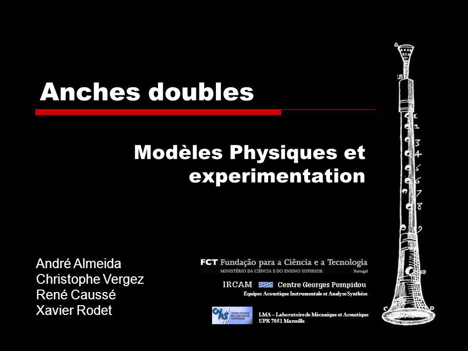 Anches doubles Modèles Physiques et experimentation André Almeida Christophe Vergez René Caussé Xavier Rodet Equipes Acoustique Instrumentale et Analy