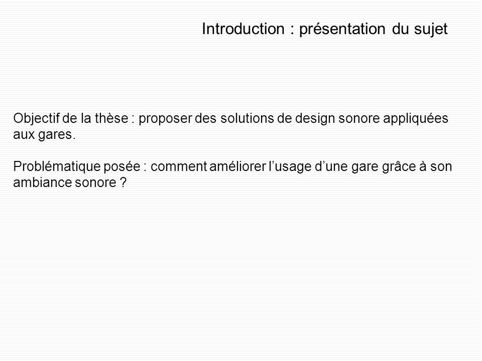Introduction : présentation du sujet Objectif de la thèse : proposer des solutions de design sonore appliquées aux gares.