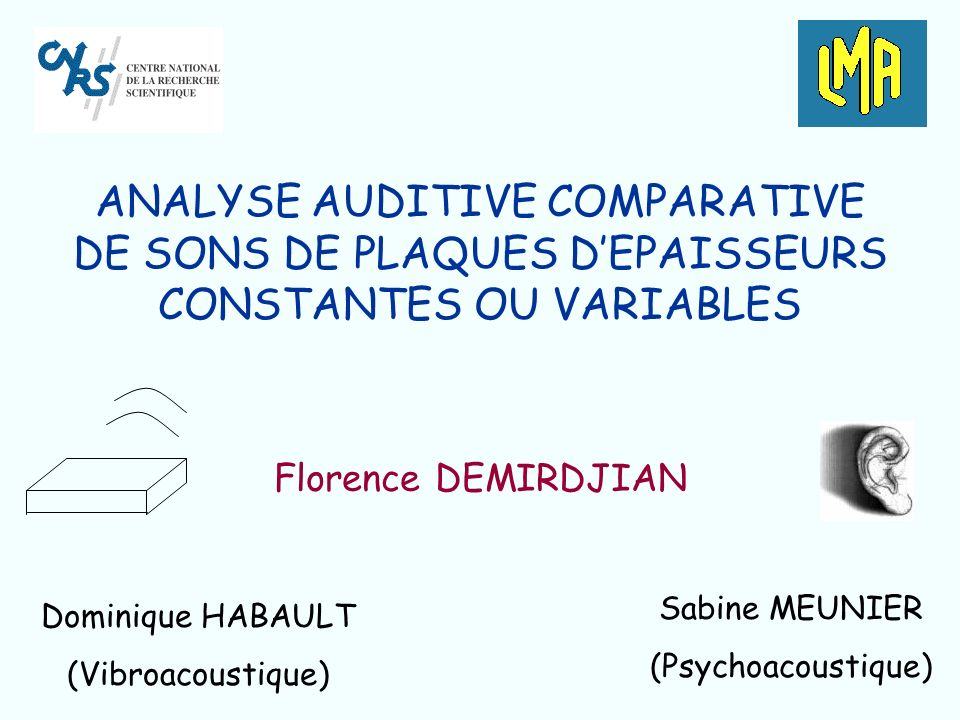 ANALYSE AUDITIVE COMPARATIVE DE SONS DE PLAQUES DEPAISSEURS CONSTANTES OU VARIABLES Florence DEMIRDJIAN Sabine MEUNIER (Psychoacoustique) Dominique HABAULT (Vibroacoustique)