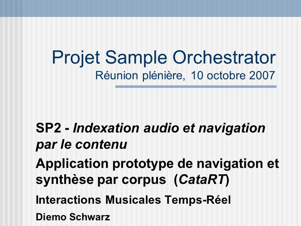 Bilan des travaux effectués Améliorations dans lanalyse (segmentation) la gestion des corpus de sons la navigation fondée sur les données, validée pour des boucles rhythmiques (stage Sylvain Cadars)