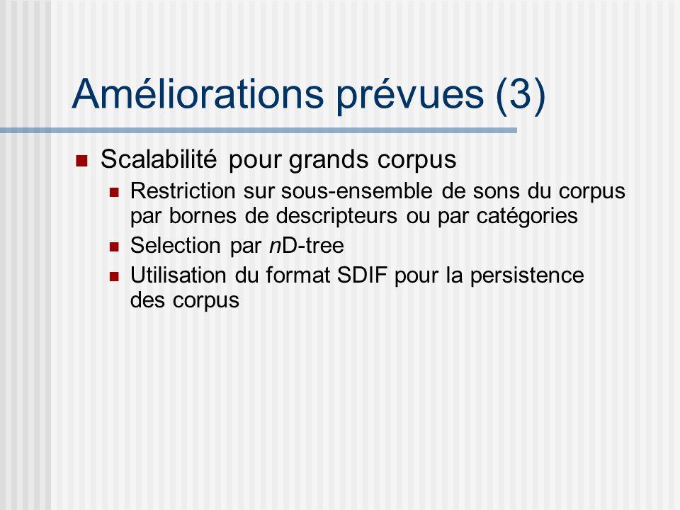 Améliorations prévues (3) Scalabilité pour grands corpus Restriction sur sous-ensemble de sons du corpus par bornes de descripteurs ou par catégories