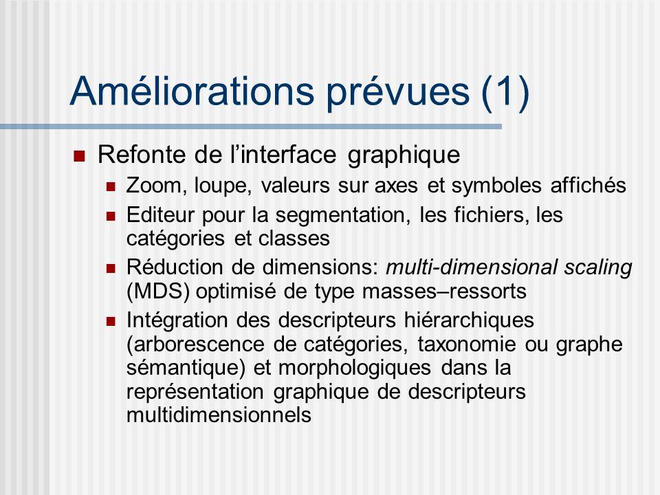 Améliorations prévues (1) Refonte de linterface graphique Zoom, loupe, valeurs sur axes et symboles affichés Editeur pour la segmentation, les fichier