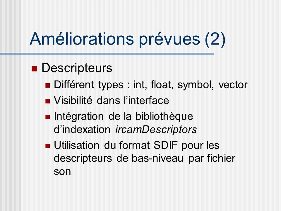 Améliorations prévues (3) Scalabilité pour grands corpus Restriction sur sous-ensemble de sons du corpus par bornes de descripteurs ou par catégories Selection par nD-tree Utilisation du format SDIF pour la persistence des corpus
