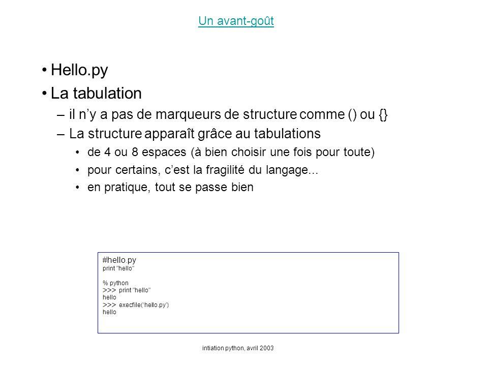 intiation python, avril 2003 Un avant-goût Hello.py La tabulation –il ny a pas de marqueurs de structure comme () ou {} –La structure apparaît grâce au tabulations de 4 ou 8 espaces (à bien choisir une fois pour toute) pour certains, cest la fragilité du langage...