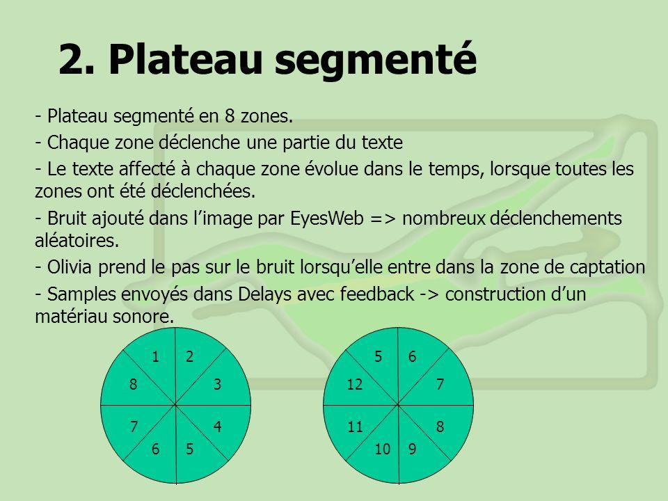 2. Plateau segmenté - Plateau segmenté en 8 zones. - Chaque zone déclenche une partie du texte - Le texte affecté à chaque zone évolue dans le temps,