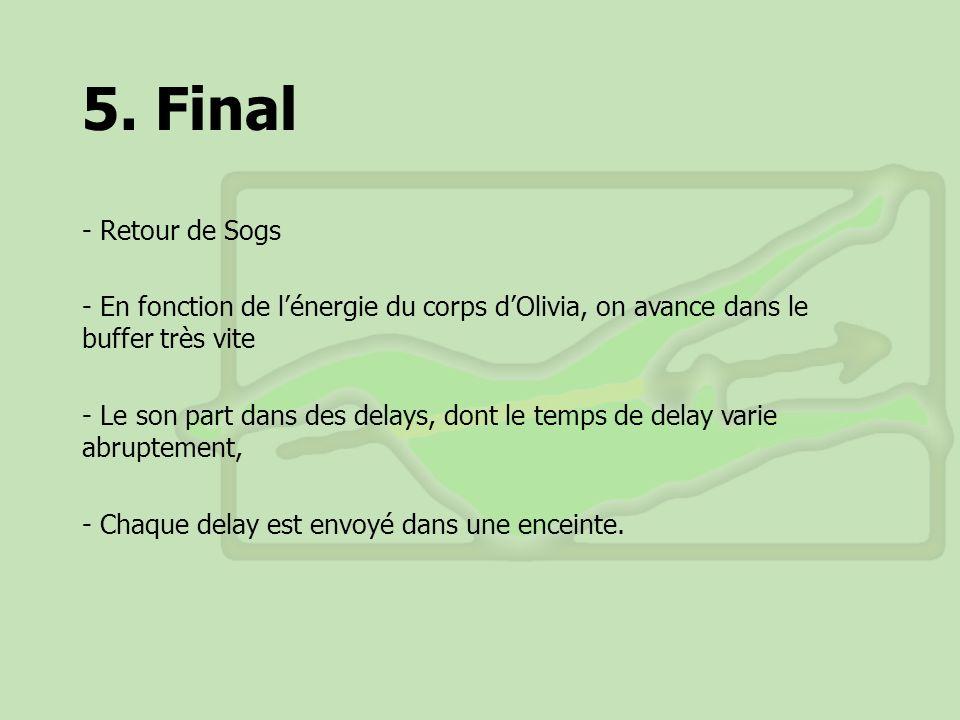 5. Final - Retour de Sogs - En fonction de lénergie du corps dOlivia, on avance dans le buffer très vite - Le son part dans des delays, dont le temps