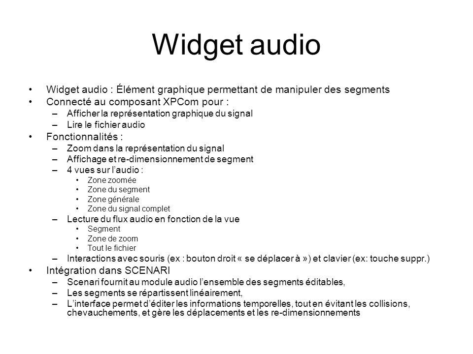 Widget audio Widget audio : Élément graphique permettant de manipuler des segments Connecté au composant XPCom pour : –Afficher la représentation grap