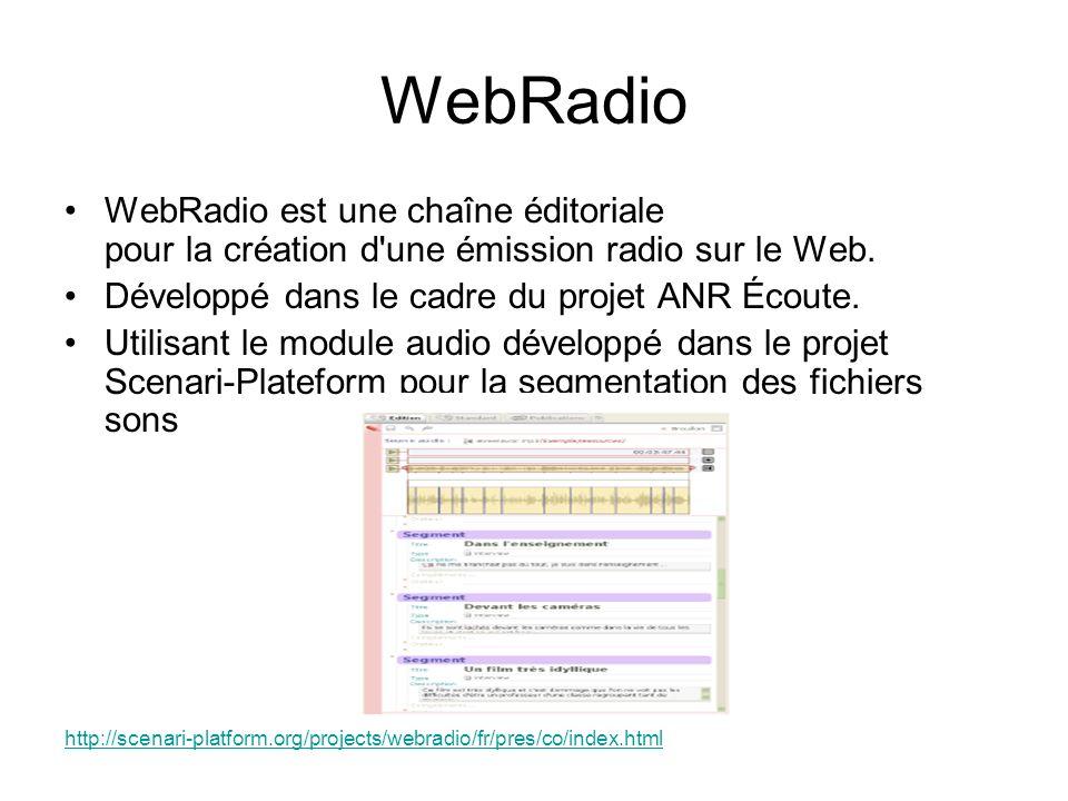 WebRadio WebRadio est une chaîne éditoriale pour la création d'une émission radio sur le Web. Développé dans le cadre du projet ANR Écoute. Utilisant
