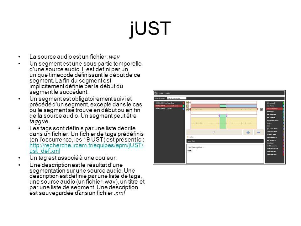 jUST La source audio est un fichier.wav Un segment est une sous partie temporelle d'une source audio. Il est défini par un unique timecode définissant