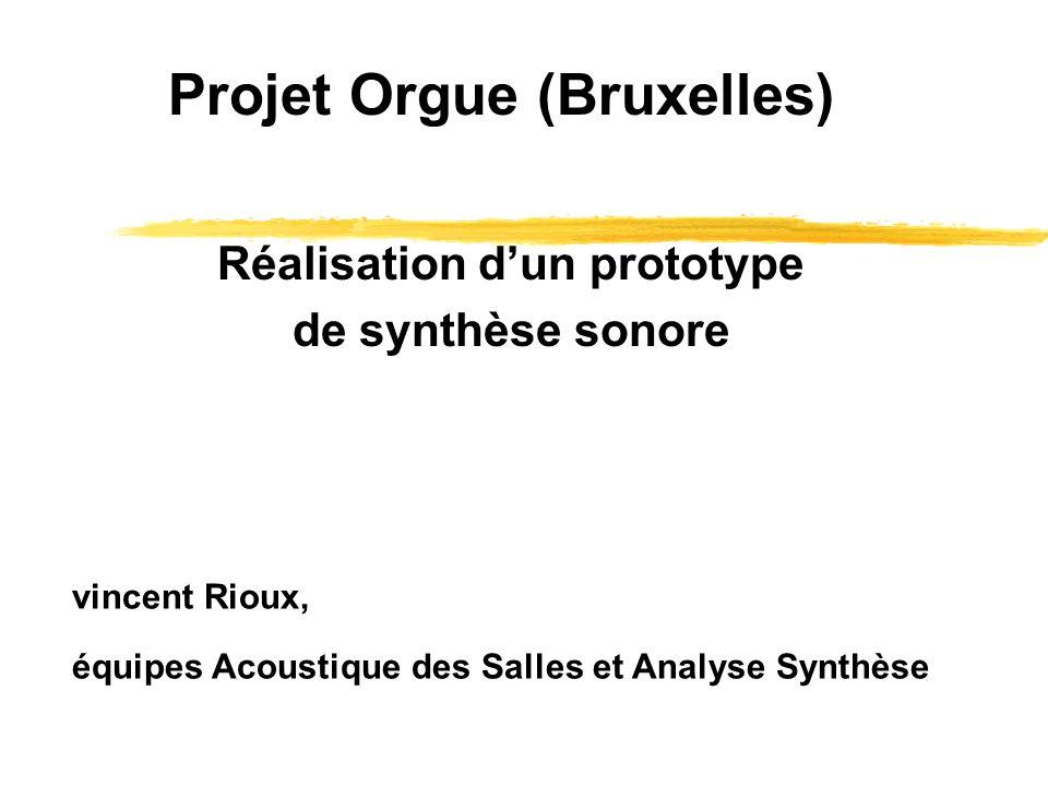 vincent Rioux, équipes Acoustique des Salles et Analyse Synthèse Projet Orgue (Bruxelles) Réalisation dun prototype de synthèse sonore