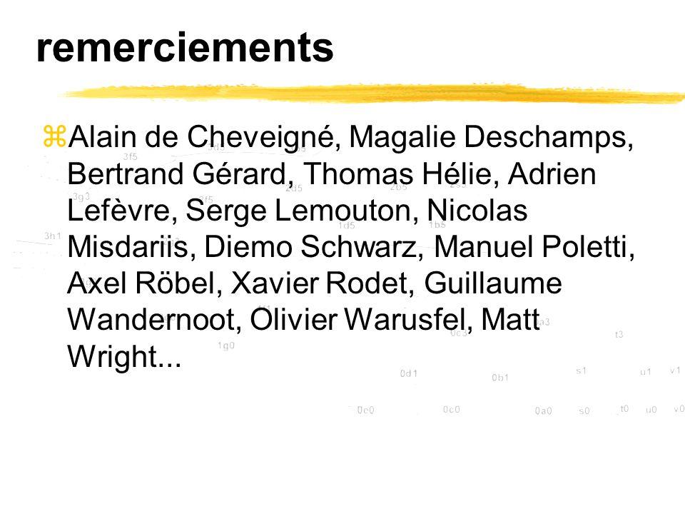 remerciements zAlain de Cheveigné, Magalie Deschamps, Bertrand Gérard, Thomas Hélie, Adrien Lefèvre, Serge Lemouton, Nicolas Misdariis, Diemo Schwarz,