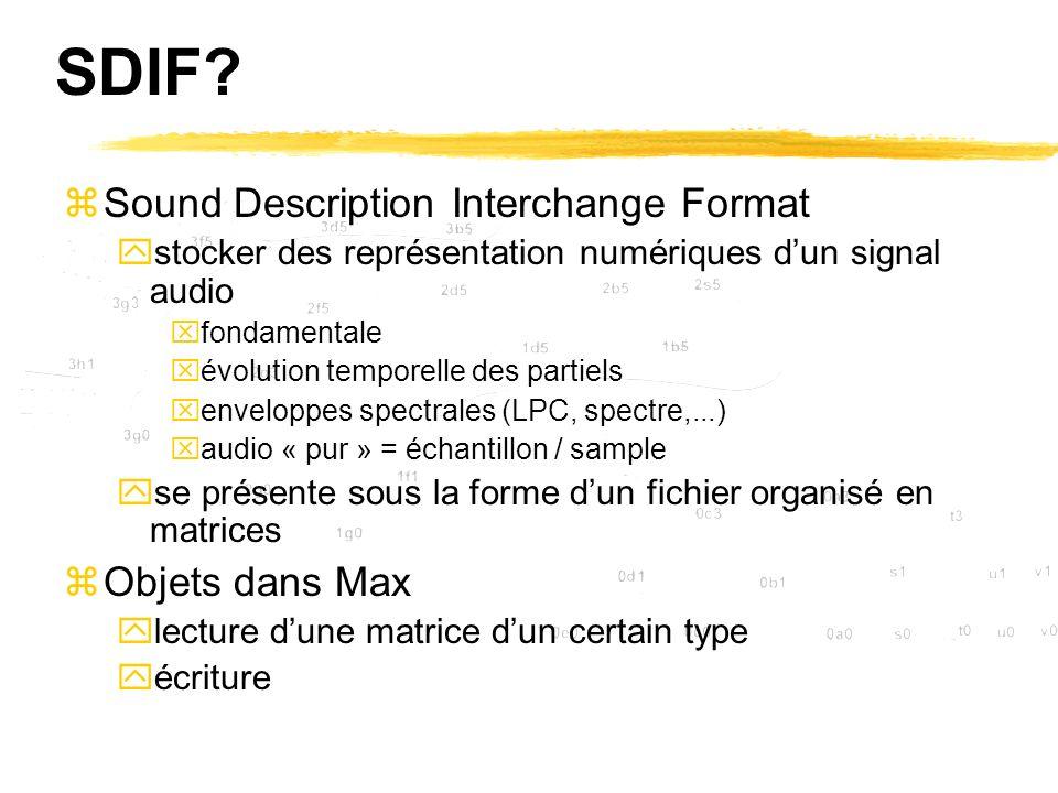 SDIF? zSound Description Interchange Format ystocker des représentation numériques dun signal audio xfondamentale xévolution temporelle des partiels x