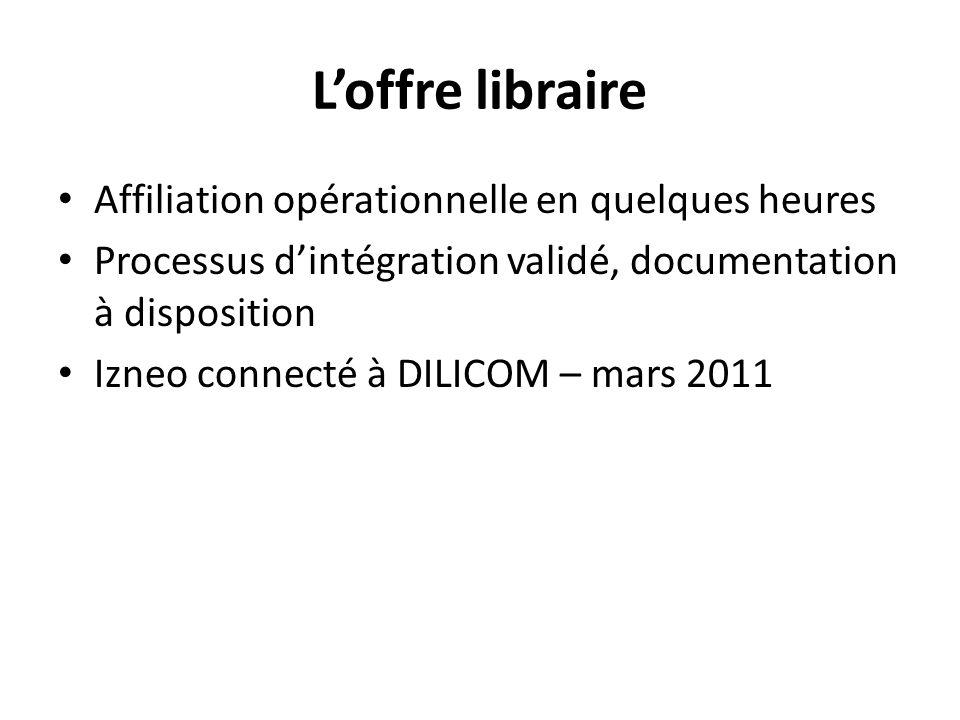 Loffre libraire Affiliation opérationnelle en quelques heures Processus dintégration validé, documentation à disposition Izneo connecté à DILICOM – mars 2011
