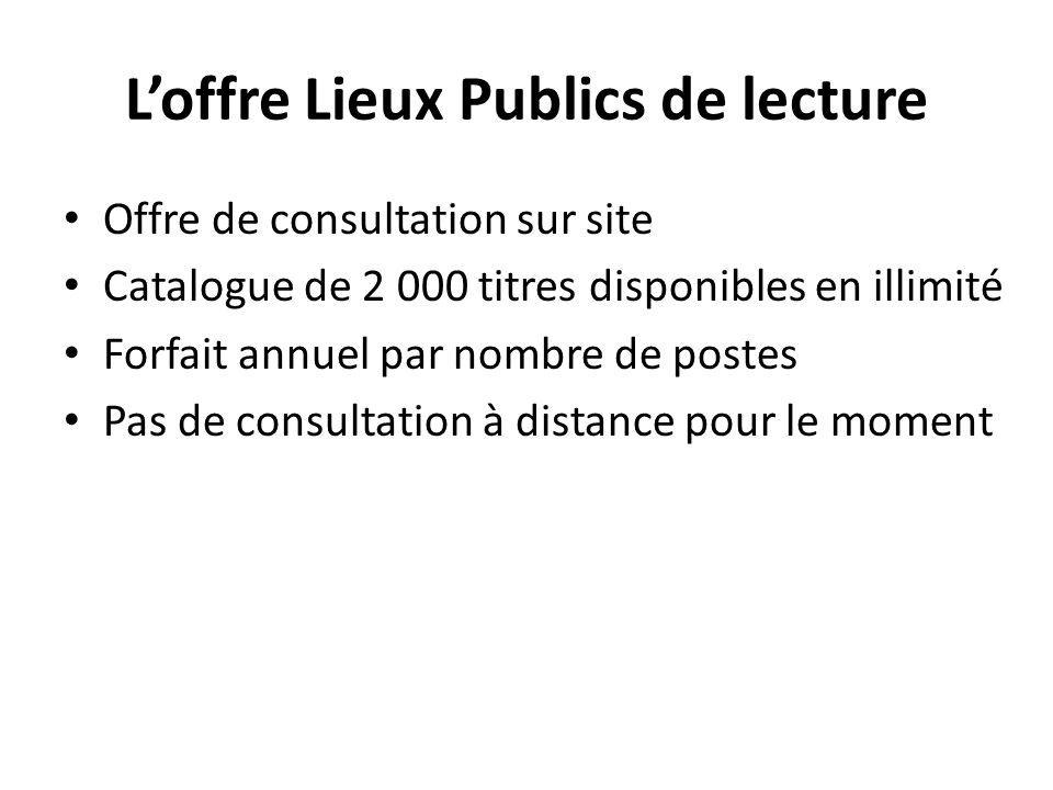 Loffre Lieux Publics de lecture Offre de consultation sur site Catalogue de 2 000 titres disponibles en illimité Forfait annuel par nombre de postes Pas de consultation à distance pour le moment