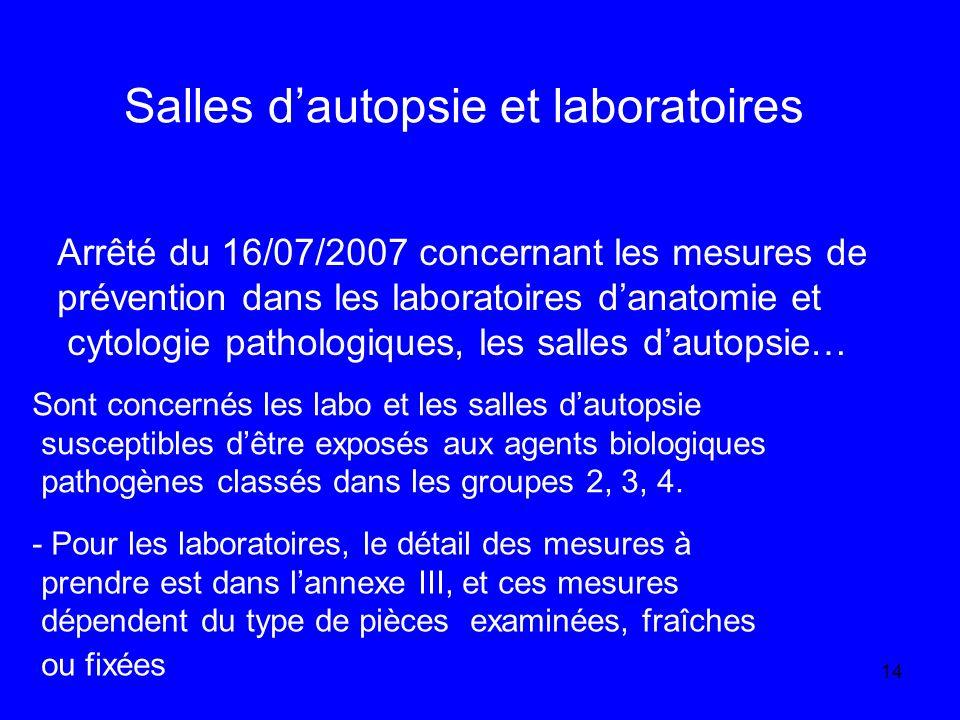 14 Salles dautopsie et laboratoires Sont concernés les labo et les salles dautopsie susceptibles dêtre exposés aux agents biologiques pathogènes classés dans les groupes 2, 3, 4.