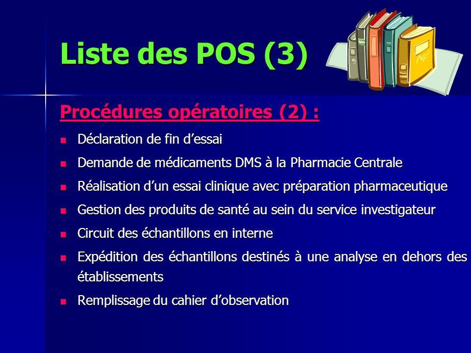 Procédures opératoires (2) : Déclaration de fin dessai Déclaration de fin dessai Demande de médicaments DMS à la Pharmacie Centrale Demande de médicam