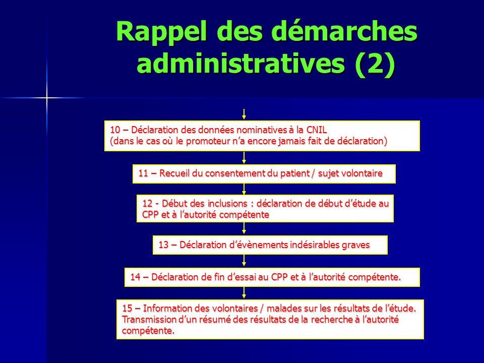 10 – Déclaration des données nominatives à la CNIL (dans le cas où le promoteur na encore jamais fait de déclaration) 12 - Début des inclusions : décl