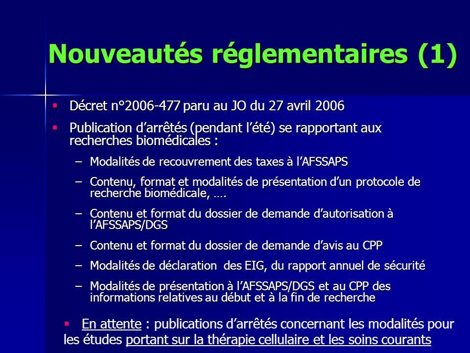 Nouveautés réglementaires (1) Décret n°2006-477 paru au JO du 27 avril 2006 Décret n°2006-477 paru au JO du 27 avril 2006 Publication darrêtés (pendan