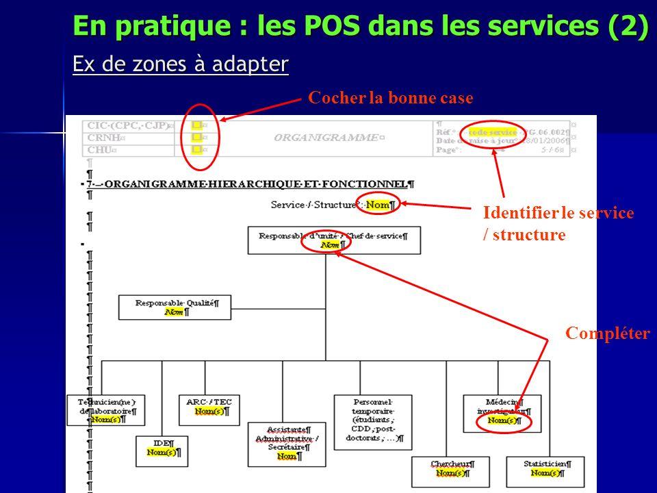 Ex de zones à adapter Cocher la bonne case Identifier le service / structure Compléter En pratique : les POS dans les services (2)