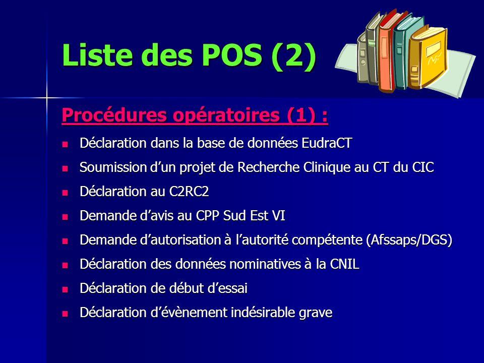 Procédures opératoires (1) : Déclaration dans la base de données EudraCT Déclaration dans la base de données EudraCT Soumission dun projet de Recherch
