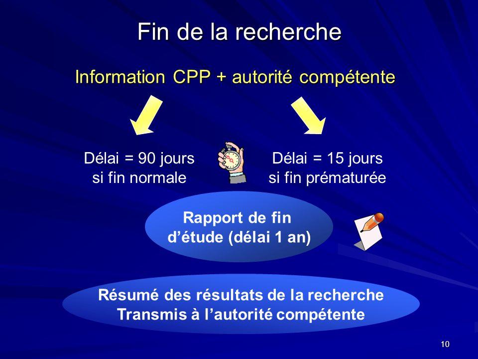 10 Fin de la recherche Information CPP + autorité compétente Délai = 90 jours si fin normale Délai = 15 jours si fin prématurée Rapport de fin détude