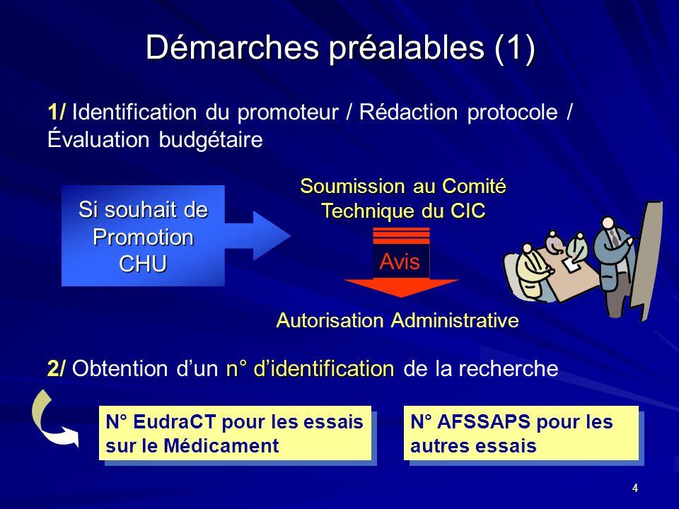 4 Démarches préalables (1) 1/ Identification du promoteur / Rédaction protocole / Évaluation budgétaire Si souhait de PromotionCHU Soumission au Comit