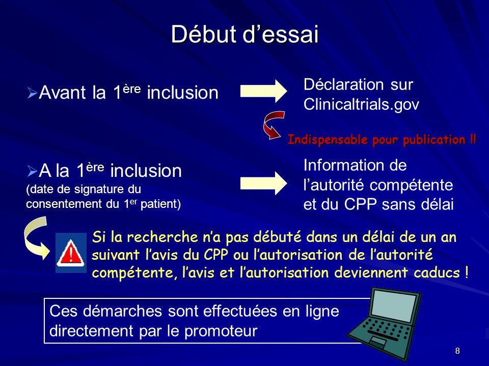 8 Début dessai Avant la 1 ère inclusion Déclaration sur Clinicaltrials.gov A la 1 ère inclusion (date de signature du consentement du 1 er patient) In