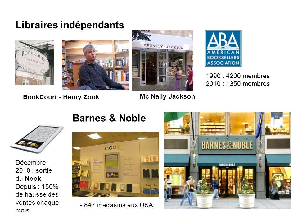 Libraires indépendants Barnes & Noble BookCourt - Henry Zook Mc Nally Jackson - 847 magasins aux USA 1990 : 4200 membres 2010 : 1350 membres Décembre