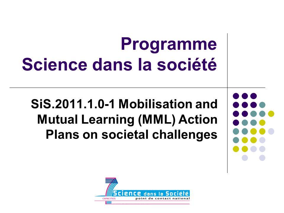 Programme Science dans la société SiS.2011.1.0-1 Mobilisation and Mutual Learning (MML) Action Plans on societal challenges