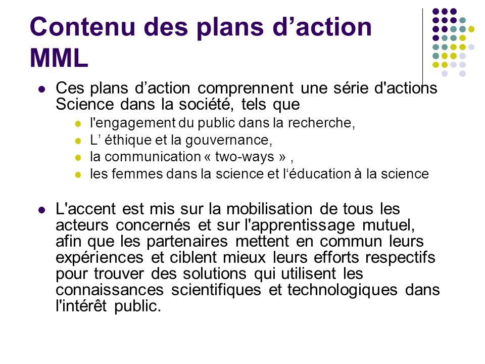 Contenu des plans daction MML Ces plans daction comprennent une série d'actions Science dans la société, tels que l'engagement du public dans la reche