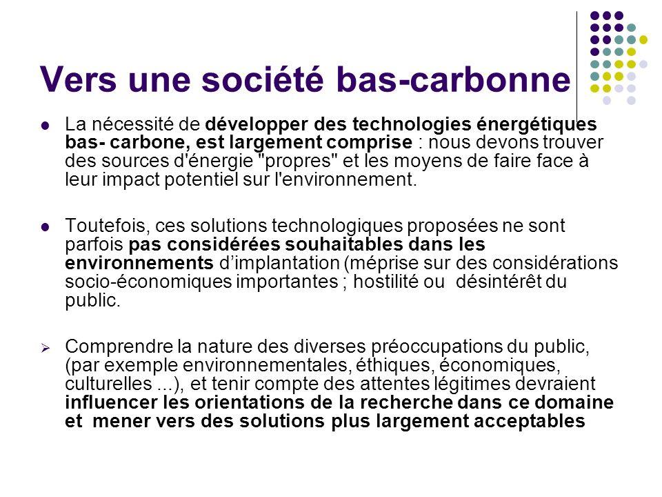 Vers une société bas-carbonne La nécessité de développer des technologies énergétiques bas- carbone, est largement comprise : nous devons trouver des