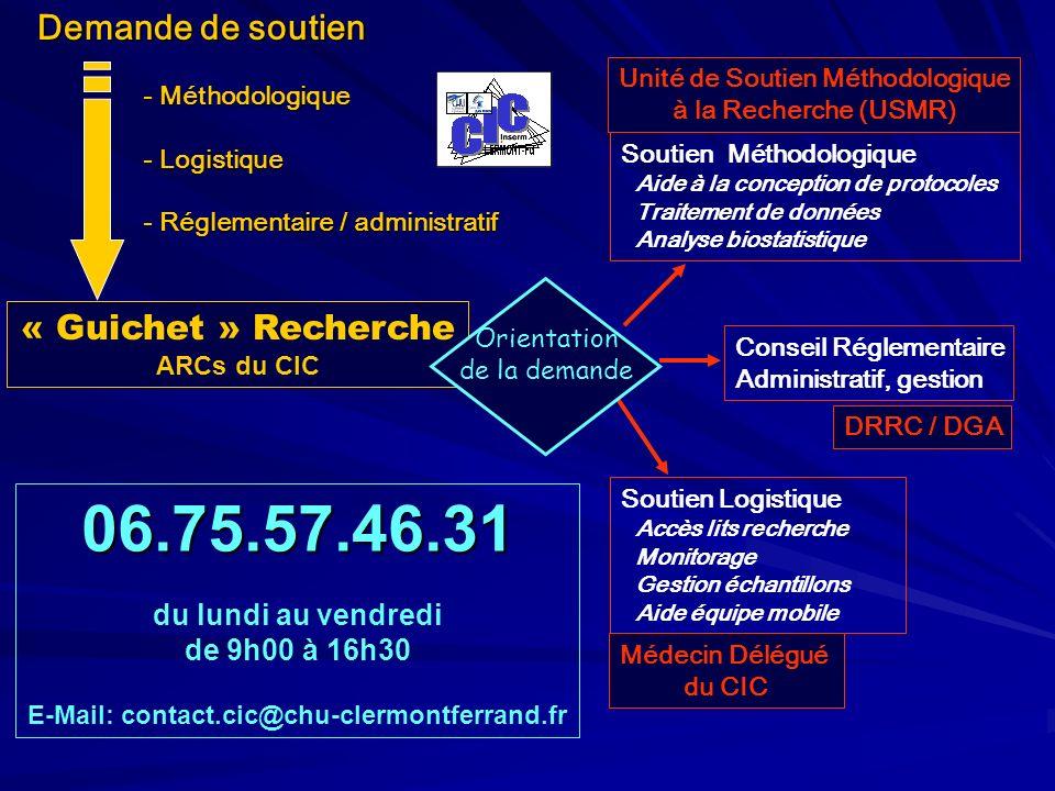 Demande de soutien - Méthodologique - Logistique - Réglementaire / administratif « Guichet » Recherche ARCs du CIC 06.75.57.46.31 du lundi au vendredi