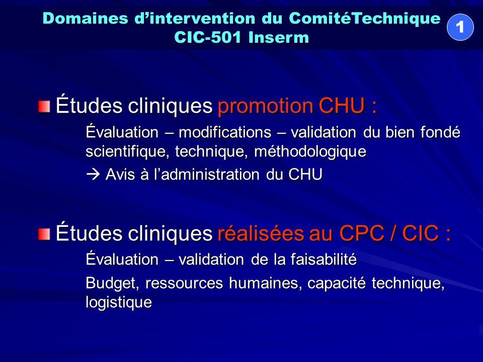 Soutien méthodologique aux projets institutionnels (préparation et mise en forme des protocoles) Comité dEthique Inter-CIC de Rhône-Alpes- Auvergne Comité de Coordination pour la Recherche Clinique en Cancérologie (C2RC2) Domaines dintervention du ComitéTechnique CIC-501 Inserm 2