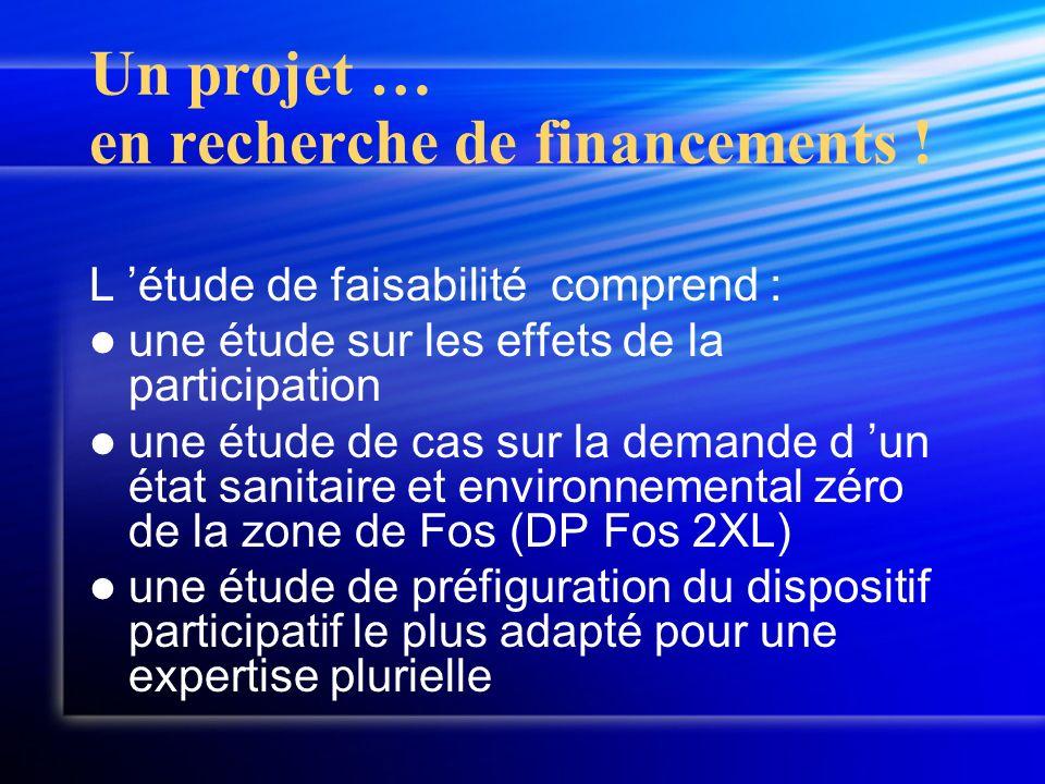 Un projet … en recherche de financements ! L étude de faisabilité comprend : une étude sur les effets de la participation une étude de cas sur la dema