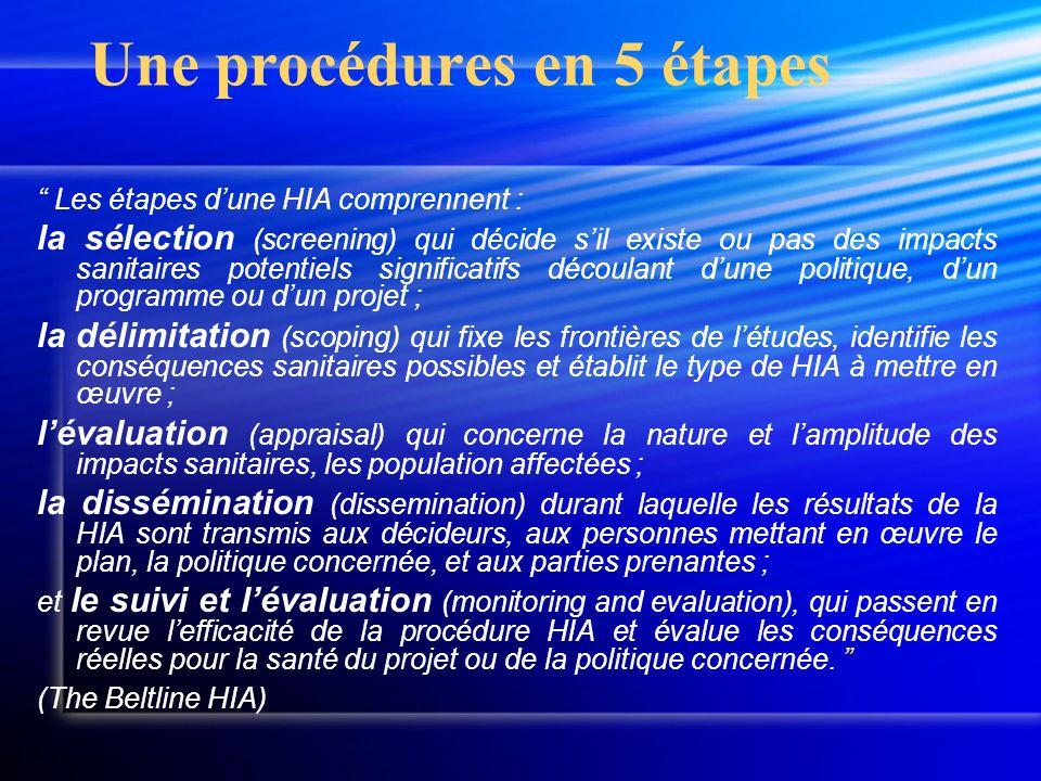 Les étapes dune HIA comprennent : la sélection (screening) qui décide sil existe ou pas des impacts sanitaires potentiels significatifs découlant dune