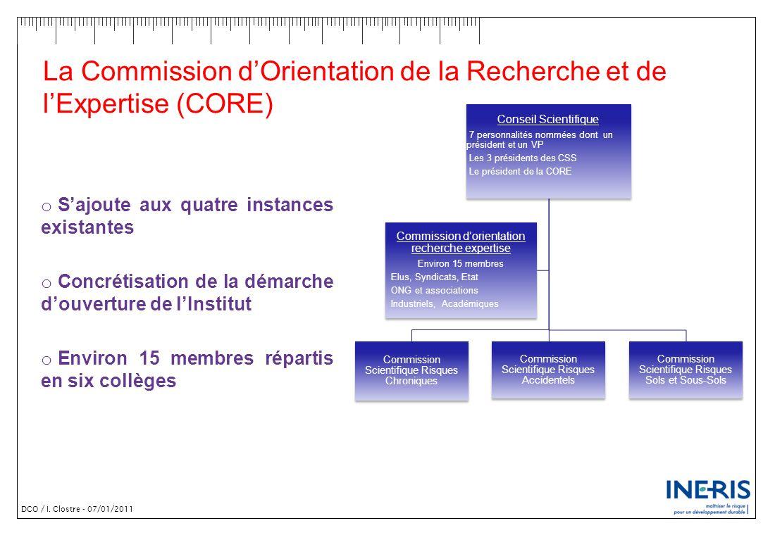 DCO / I. Clostre - 07/01/2011 La Commission dOrientation de la Recherche et de lExpertise (CORE) o Sajoute aux quatre instances existantes o Concrétis