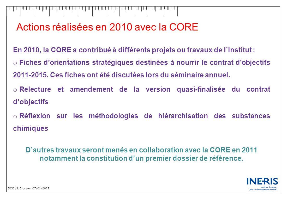 DCO / I. Clostre - 07/01/2011 Actions réalisées en 2010 avec la CORE En 2010, la CORE a contribué à différents projets ou travaux de lInstitut : o Fic