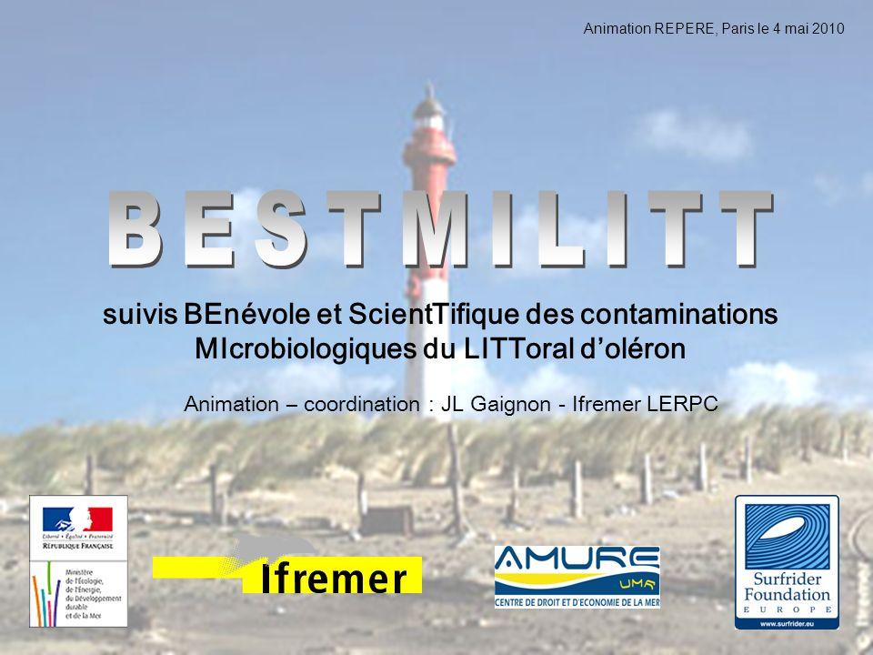 Animation REPERE, Paris le 4 mai 2010 suivis BEnévole et ScientTifique des contaminations MIcrobiologiques du LITToral doléron Animation – coordinatio
