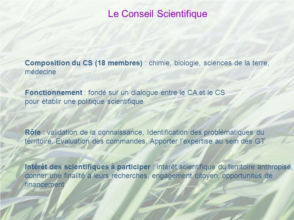 Le Conseil Scientifique Composition du CS (18 membres) : chimie, biologie, sciences de la terre, médecine Intérêt des scientifiques à participer : int