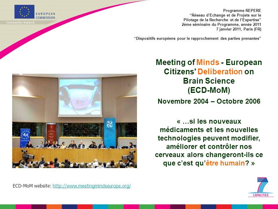 Programme REPERE Réseau dEchange et de Projets sur le Pilotage de la Recherche et de lExpertise 2ème séminaire du Programme, année 2011 7 janvier 2011, Paris (FR) Dispositifs européens pour le rapprochement des parties prenantes ECD-MoM website: http://www.meetingmindseurope.org/http://www.meetingmindseurope.org/ Meeting of Minds - European Citizens Deliberation on Brain Science (ECD-MoM) Novembre 2004 – Octobre 2006 « …si les nouveaux médicaments et les nouvelles technologies peuvent modifier, améliorer et contrôler nos cerveaux alors changeront-ils ce que cest quêtre humain.