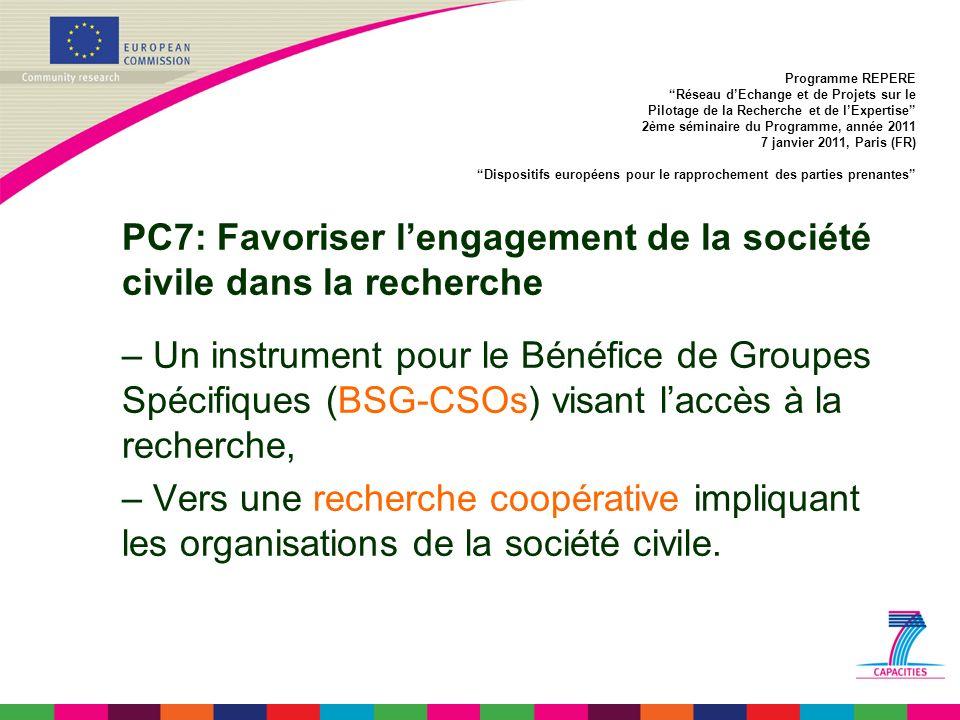 PC7: Favoriser lengagement de la société civile dans la recherche – Un instrument pour le Bénéfice de Groupes Spécifiques (BSG-CSOs) visant laccès à la recherche, – Vers une recherche coopérative impliquant les organisations de la société civile.