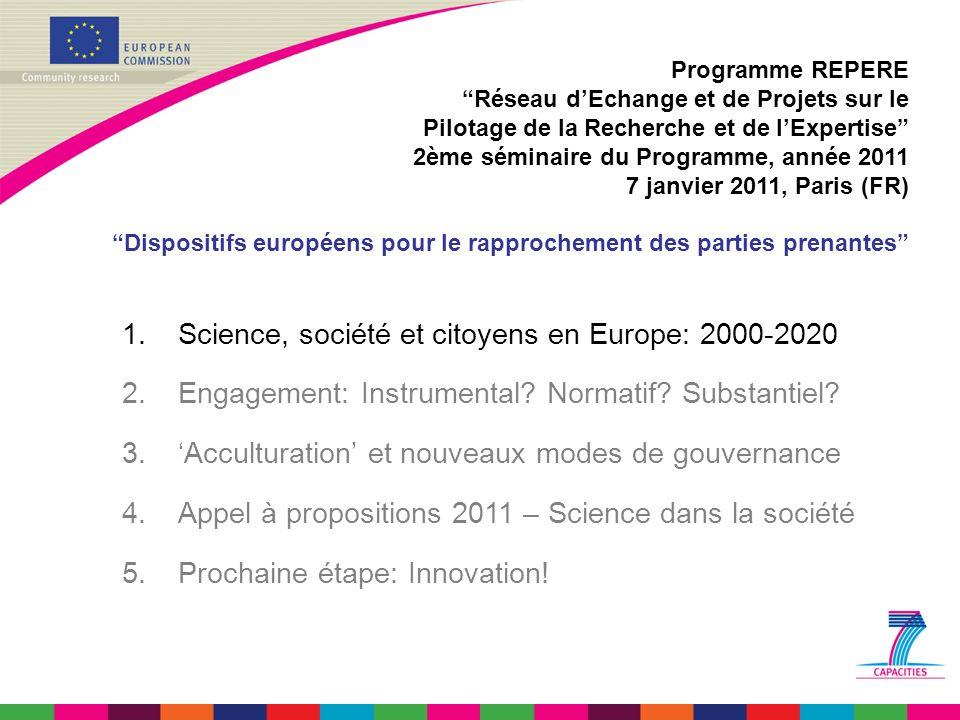 2000: Sommet de Lisbonne (Knowledge Based Society) 2001: Gouvernance européenne: un livre blanc 2001: Plan daction Science et Société 2002: VIème Programme Cadre de RDT (80 / 17.500 M) 2007: VIIème Programme cadre de RDT (330 / 54.000 M) Programme REPERE Réseau dEchange et de Projets sur le Pilotage de la Recherche et de lExpertise 2ème séminaire du Programme, année 2011 7 janvier 2011, Paris (FR) Dispositifs européens pour le rapprochement des parties prenantes