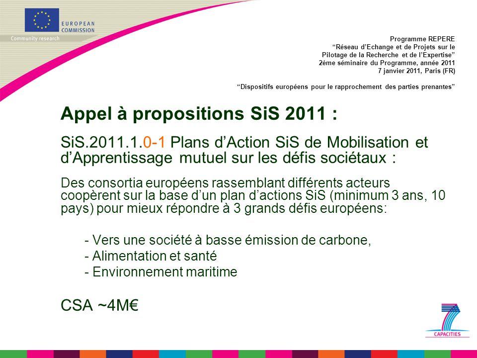 Appel à propositions SiS 2011 : SiS.2011.1.0-1 Plans dAction SiS de Mobilisation et dApprentissage mutuel sur les défis sociétaux : Des consortia européens rassemblant différents acteurs coopèrent sur la base dun plan dactions SiS (minimum 3 ans, 10 pays) pour mieux répondre à 3 grands défis européens: - Vers une société à basse émission de carbone, - Alimentation et santé - Environnement maritime CSA ~4M